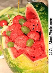 fris, en, rijp, watermeloen