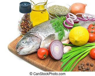 fris, forel, groentes, citroen, en, kruiden, dichtbegroeid boven