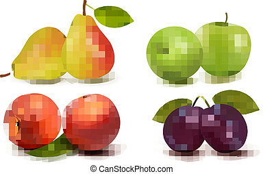 fris, fruit., vector, set