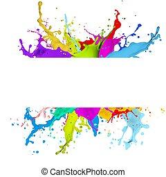 fris, gespetter, spandoek, effect, kleurrijke