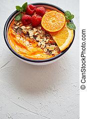 fris, gezonde , smoothie, framboos, kom, schijfen, chia, mandarijn, nootjes, yogurt., of, sinaasappel