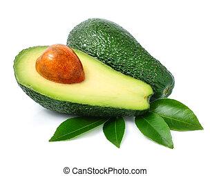 fris, groene, avocado, vruchten, met, blad, vrijstaand, op...