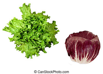 fris, groene salade, met, radicchio