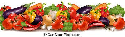 fris, groentes, gemaakt, spandoek