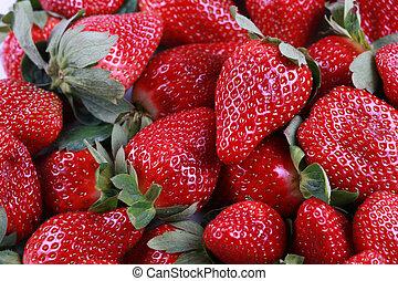 fris, heerlijk, aardbeien