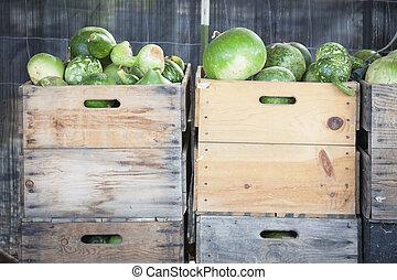 fris, herfst, gourds, en, kratten, in, rustiek, herfst, vatting