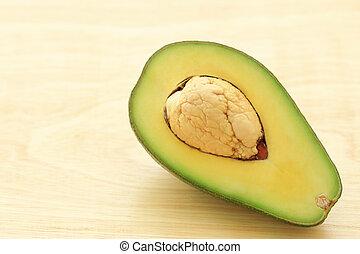 fris, hout, avocado, helft