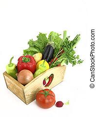 fris, houten, groentes, volle, doosje