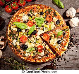 fris, italiaanse , pizza, bovenleer, aanzicht