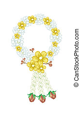 fris, jasmijn, bloemen, met, simpor, bloemen, guirlande