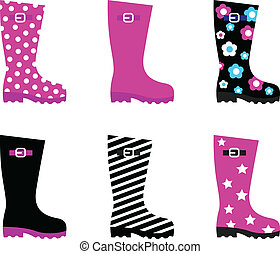 fris, &, kleurrijke, regen, wellies, laarzen, vrijstaand, op...