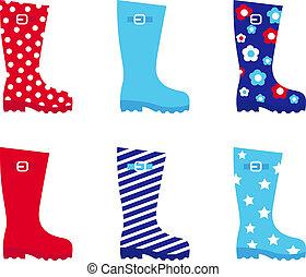 fris, &, kleurrijke, rubber, wellington laarzen, vrijstaand,...