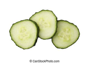 fris, knippen, komkommer, vrijstaand, op wit, achtergrond, dichtbegroeid boven