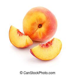 fris, knippen, perzik, vruchten