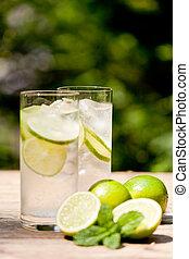fris, koude, opfrissing, drank, mineraal water, soda, met,...