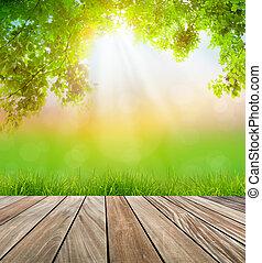 fris, lente, groen gras, en, houtenvloer, met, groen blad,...
