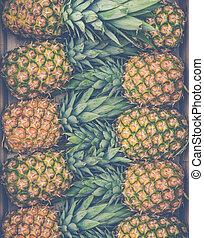 fris, markt, ananassen