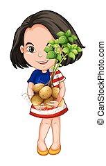 fris, meisje, hodling, aardappels