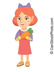 fris, meisje, kaukasisch, carrot., vasthouden