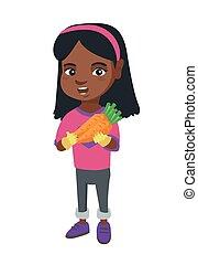 fris, meisje, vasthouden, carrot., afrikaans-amerikaan