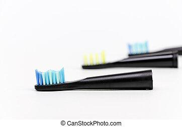 fris, moderne, elektrisch, drie, tandenborstel, breath., hoofden, tandbederf