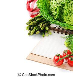 fris, organisch, groentes, en, het koken, boek
