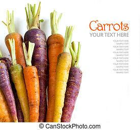 fris, organisch, regenboog, wortels