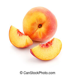 fris, perzik, vruchten, met, knippen