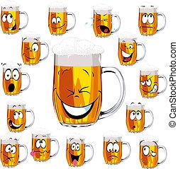 fris, pet, bier, spotprent, mok