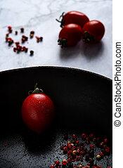 fris, rood, vrijstaand, pan, gezonde , black , tomaten
