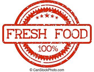 fris, rubberstempel, voedingsmiddelen