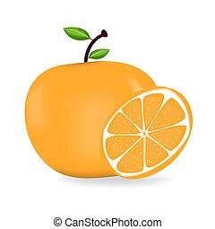 fris, sinaasappel, leaves., rijp