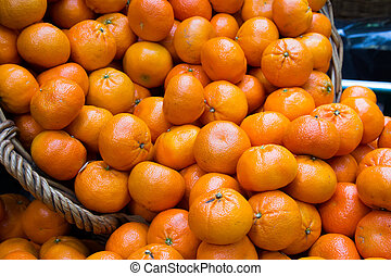 fris, sinaasappel, op, een, markt, stander