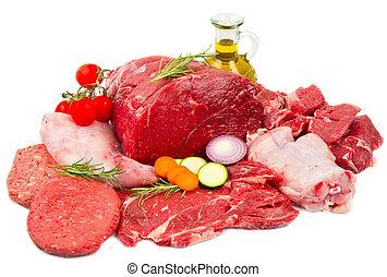fris, slager, knippen, vlees, assortiment, garneren