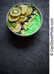fris, smoothie, bowl., amandel, bosbessen, flakes, linde brink, yoghurt, kiwi, of