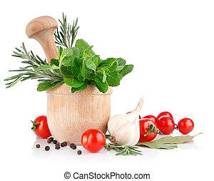 fris, specerij, en, groentes