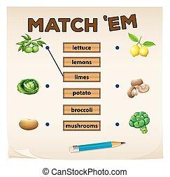 fris, spel, groentes, bijbehorend