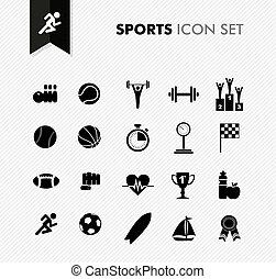 fris, sporten, pictogram, set.