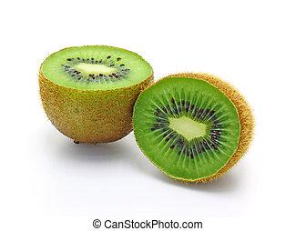 fris, stukken, kiwi fruit, vrijstaand, op wit, achtergrond