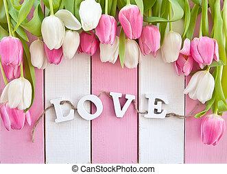 fris, tulpen, op, roze, en, witte