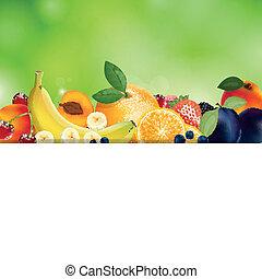 fris, vector, achtergrond, vruchten
