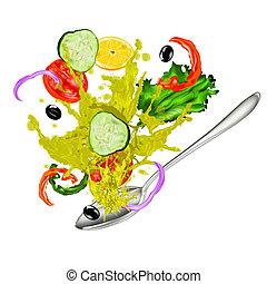 fris, vegetariër, groente, slaatje