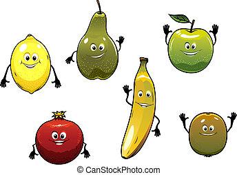 fris, vrolijke , set, spotprent, vruchten