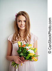 fris, vrouw, bloemen