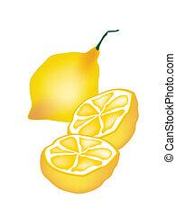 fris, witte , citroen, achtergrond, helft