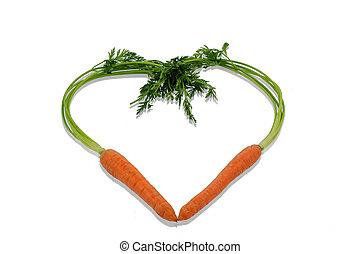 fris, wortels, in, een, hart gedaante