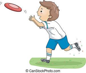 Frisbee Boy - Illustration of a Boy Catching a Frisbee