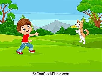 frisbee, chien, jouer, dessin animé, garçon, parc, sien
