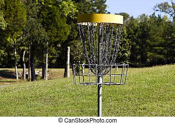 Frisbee Disc Golf Metal Target - Frisbee disc golf target at...