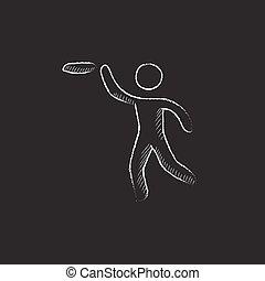 Frisbee. Drawn in chalk icon.